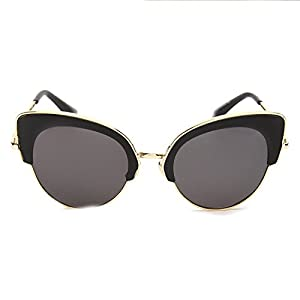 ladies metal large frame sunglassesmen and women cat eye sunglasses D5322,Gold frame brown