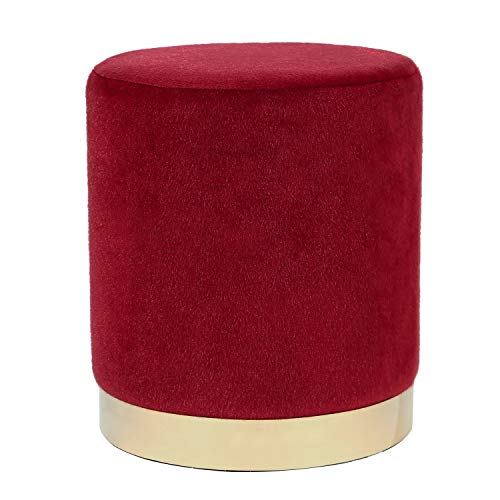 Joveco Velvet Ottoman Short Plush Footstool Round Footrest Stool(Red)