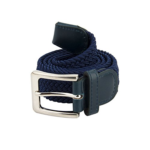 Canvas Elastic Fabric Woven Stretch Braided Belts Solid Color 2044-Navy-L (Blue Canvas Belt)