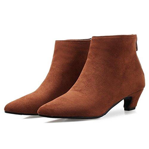 Dress Heel Brown Boots Coolcept Mid Women Zip tqTWzx4