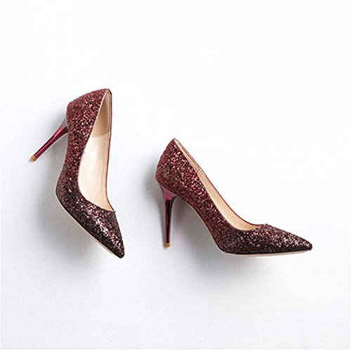 Heels Sequined High Fashion Shoes wine Red Ladies' Gradient Pointy Shoes Shoes Fine Prom HXVU56546 xzwIqRtY
