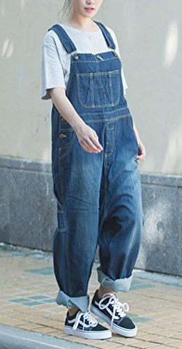 Soojun Women's Fashion Casual Loose Denim Bib Overalls 2 Blue