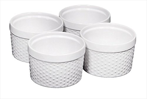 Home Essentials Set of 4 Mini Stoneware Hobnail 6 oz Ramekins - Textured Porcelain, Mousse, Creme Brulee, Custard Cups, Baking, Souffles, Quiche Cups, White - 4 Inches Stoneware Mini