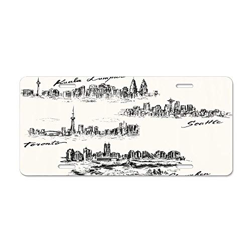Skyline Toronto Seattle Shenzhen Kuala Lumpur Hand Drawn Collection City Landmark Cityscape Pen Canada Customized License Plate Cover Aluminum Metal Car Licenses Plate Frame Holder For US ()