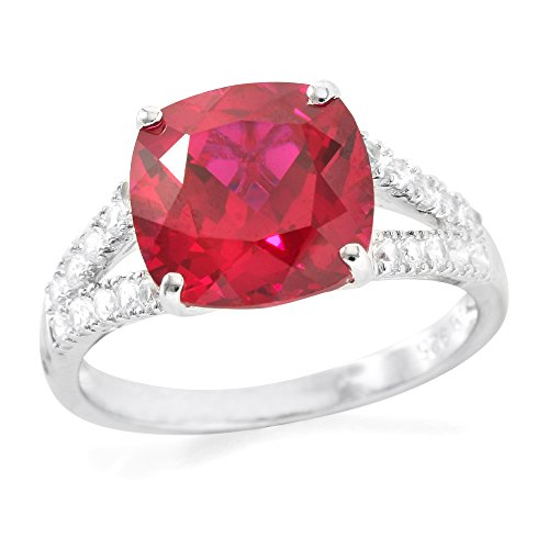 Glamouresq Sterling Silver 10mm Cushion Cut Created Ruby and Round Brilliant Cut White Sapphire Women's Ring, Size (Estate Ring)