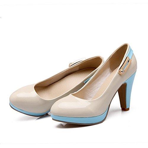 AllhqFashion Damen PU Leder Hoher Absatz Rund Zehe Eingelegt Ziehen auf Pumps Schuhe Cremefarben
