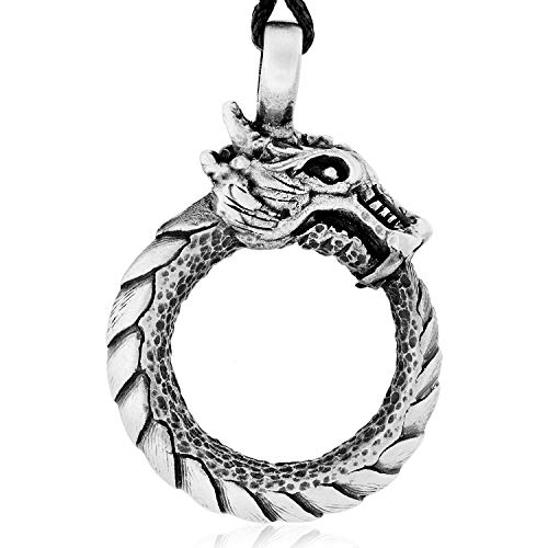 Namaste Jewelers Ouroboros 'Tail Devourer' Dragon Pendant Necklace Pewter - Tail Pendant Dragon