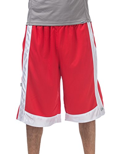 (Pro Club Men's Heavyweight Mesh Basketball Shorts, Red/White, Large )