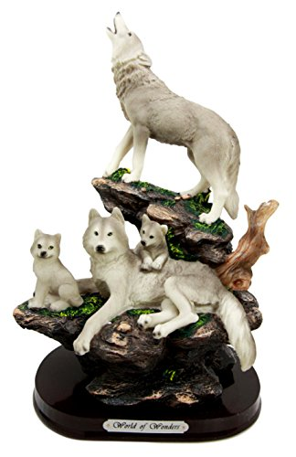 Ebros Gift Moon Howling Timberwolves Alpha Wolf Pack Family Decorative Figurine 8.5