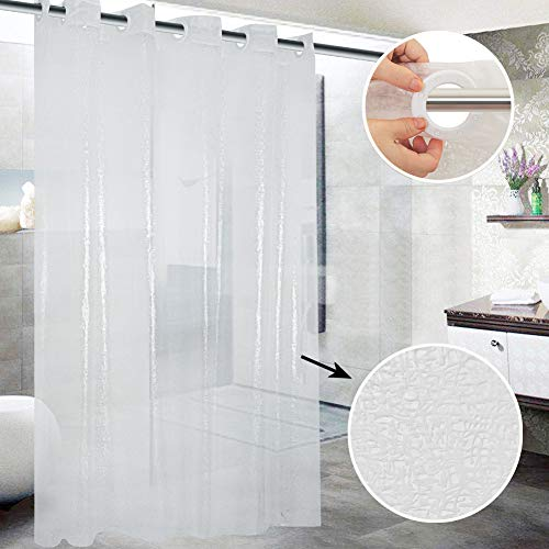Shower Curtain Hookless, Broken Glass Pattern Waterproof Clear Shower Curtain Liner Plastic PEVA with Shower Curtain Splash Clips for Bathroom Hotel Spa,72x74 Inch,- Machine Washable (Curtains Glass Shower)