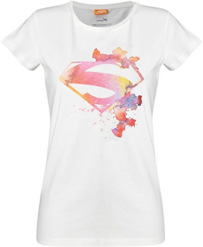 GOZOO Superman T-Shirt Damen Watercolor Splash 100% Baumwolle Weiß