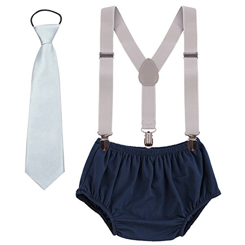 Kids Baby Boys 1st Elasticated Necktie 3PCS Formal Gentleman Outfit Suit Adjustable Y Braces//Suspender 2nd Birthday Cake Smash Bloomer Shorts
