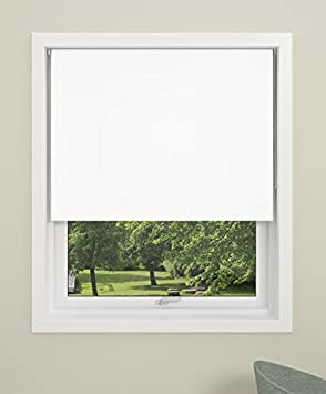 Debel Store occultant Enrouleur 100x 150cm 100% Polyester Uni Noir, Tissu, Blanc, 80 x 150 cm DECO GROUP 8370131