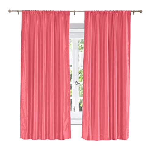 ChadMade Soundproof Energy Saving Polyester Cotton Silk Solid Curtain Fuchsia 100