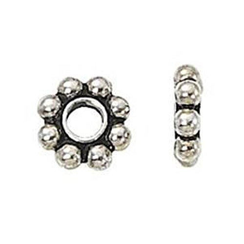 - Beautiful Bead 8mm Bright Bali Silver Daisy Spacers Beads for Bracelets DIY Jewelry Making (About 100pcs )