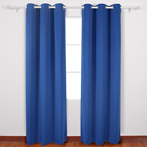 Deconovo Decorative Blackout Curtains Room Darkening Shades Grommet Curtains for Kids Room 42W x 95L Inch Royal Blue 2 Panels (96 Inch Light Blue Curtains compare prices)