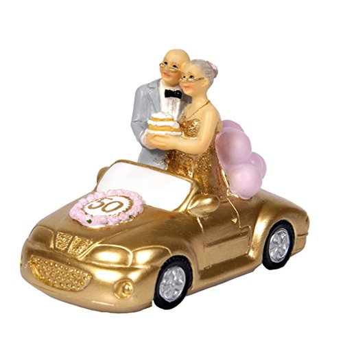 Luwint 50th Polyresin Statues - Wedding Car Elderly Couple Figurines Collectibles for Parents (Small/Standing)