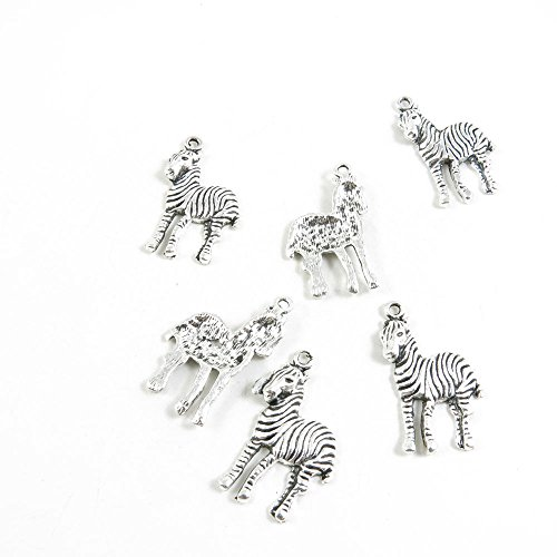 Antique Zebra (10 Pieces Antique Silver Tone Jewelry Making Charms Pendant Findings Craft Supplies Bulk Lots Arts M3IK6 Zebra Horse)