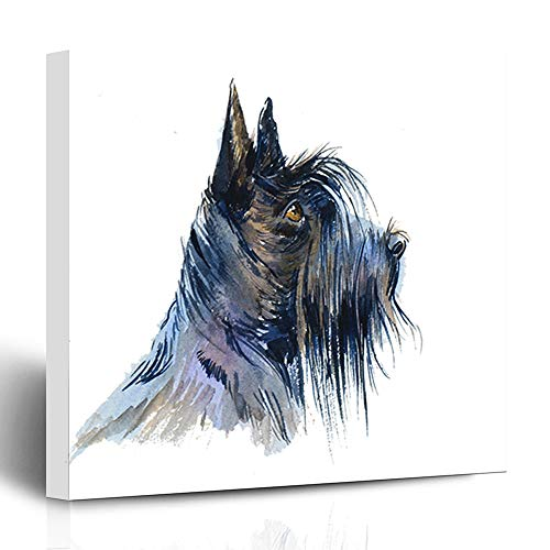 Ahawoso Canvas Print Wall Art 12x12 Inch Boho Painting Black Scottish Terrier Dog Adorable Breed Canine Cute Mystifying Modern Artwork Printing Home Decor Wrapp Gallery Painting (Terrier Dog Art Scottish)