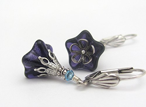 Purple Earrings Flower Dangle Antiqued Silver-tone Woodland Rustic Wedding Bridesmaid Gift for Her