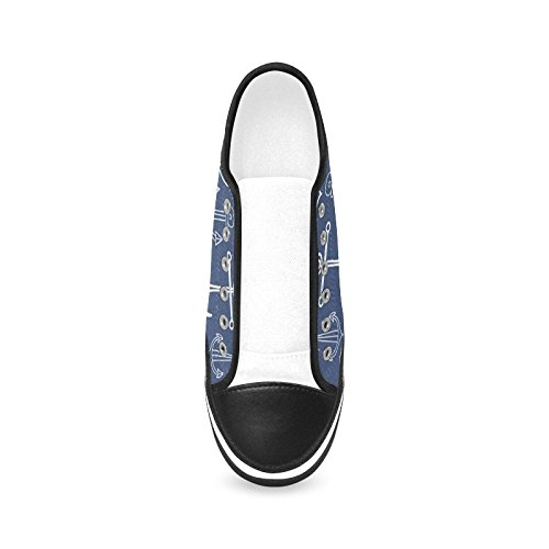 D-Story Custom Navy Anchor Womens Nonslip Canvas Shoes Fashion Sneaker cpPDmpJ1