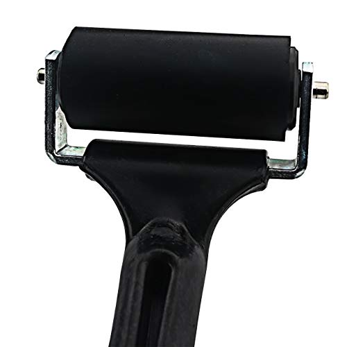 TinaWood Rubber Roller Brayer Tool, Ideal for Anti Skid Tape Construction Tools, Print, Ink and Stamping Tools (2.5-Inch, Black)