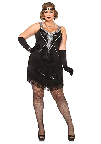 Leg Avenue Women's Plus-Size 2 Piece Glamour Flapper Costume, Black/Silver, 1X (Plus Size Costumes)