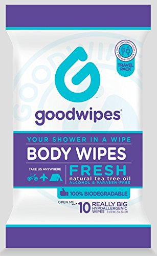 Goodwipes Really Big Hygiene Body Wipes for When You Can't Shower, Hypoallergenic, Unscented, Biodegradable, with Natural Tea Tree Oil and Cooling Peppermint, 1 Moist Lock Pack, 10ct by GoodWipes