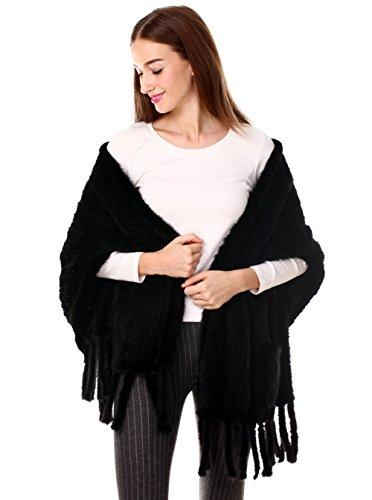 Inverno 2 Per Con Vera Di Nero Sciarpa E Nappe Donna Elegante Lungo Tasche In Visone Ferand Scialle Pelliccia 6Zq7z7wA