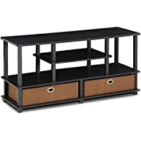 47 TV Stand Made from E1 Grade Composite Wood and PVC Tubes Non-woven Storage Bins Provide a Hidden Storage Space to Keep Loose Stuff Such as DVDs Games and Cds