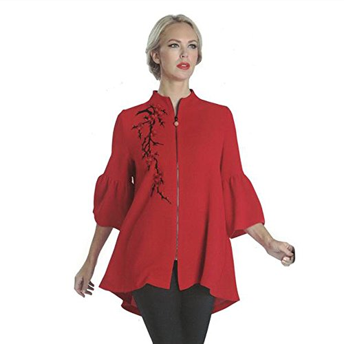 IC Collection Trumpet Sleeve High-Low Swing Style Jacket In Red 1091J (XXL) by IC Collection