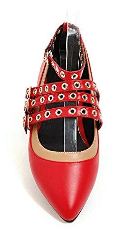 YE Damen Spitze Flache Pumps mit Riemchen und Schnalle Bequem Schuhe Rot