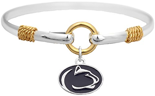 Sports Accessory Store Penn State Nittany Lions Two Tone Silver Gold Cuff Bracelet Charm Jewelry PSU