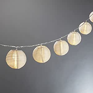 Set of 10 White Indoor/Outdoor Mini Oriental Style Nylon Lantern Plug-in String Festoon Lights with Warm White LED Lights, UL Listed- Connects up to 10 Strands!