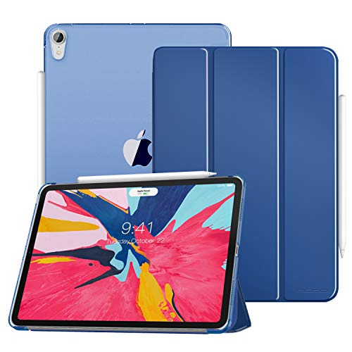MoKo Case Fit iPad Pro 11 2018 - Support Apple Pencils Magnetic Attachment Feature - Slim Lightweight Smart Shell Trifold Stand Cover with Translucent Frosted Back, Auto Wake/Sleep - Navy Blue