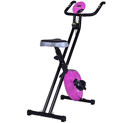 Goplus Magnetic Resistance Upright Bike Flywheel Bike Bicycle Cardio Fitness Equipment W/ Phone Holder (Purple)