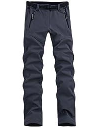 Lanbaosi Women's Outdoor Waterproof Softshell Pants Fleece Hiking Ski Pants Grey