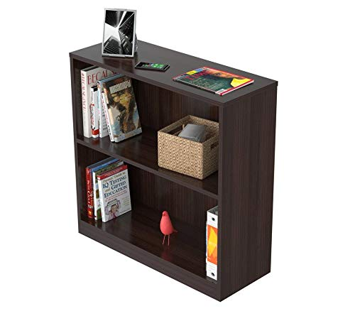 MIK Wood Bookcase - Bookcase with 2 Shelves - Espresso