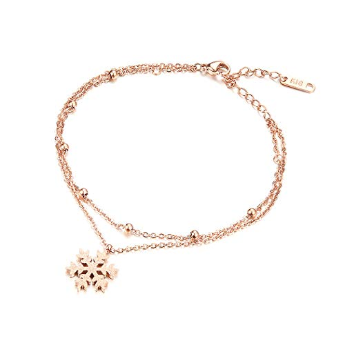 Glamorousky Rose Gold Plated Stainless Steel Snowflake Accessories Anklet (23662)