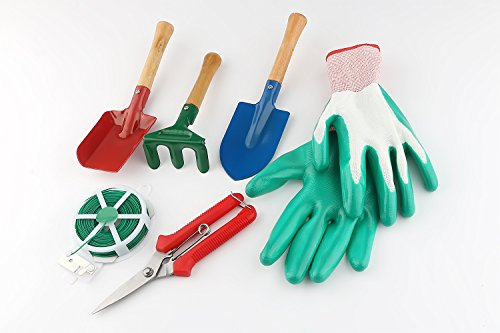 WINIT 7-Piece Garden Tool Set Include Triangle Shovel, Square Shovel, Hand Rake, Gloves, Plant Twist Tie and Pruner, Portable Bend-proof Gardening Tools (No Mat) by WINIT (Image #6)