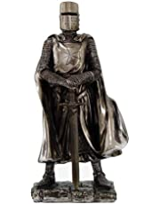 """Crusader Knight Statue Silver Finishing Cold Cast Resin Statue 7"""" (8712)"""
