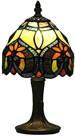 Mural Times Lighting Tiffany Table Lamp W6H11 Inch Classical Baroque Stained Glass Desk Light