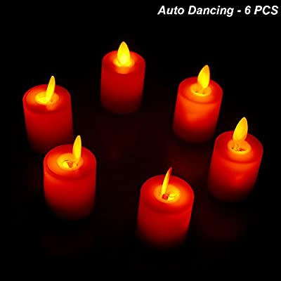 Electric Realistic Candle Auto Dancing Lifelike Flickering Candles Flameless Built-in Motor Battery Powered Pillar Ivory Christmas Lighting Decoration - Pack of 6