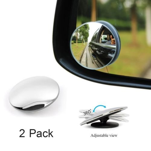 TRUE LINE Automotive 2 Piece Round Mirror Blind Spot Mirror Kit 360 Degree adjustable Safety Stick on