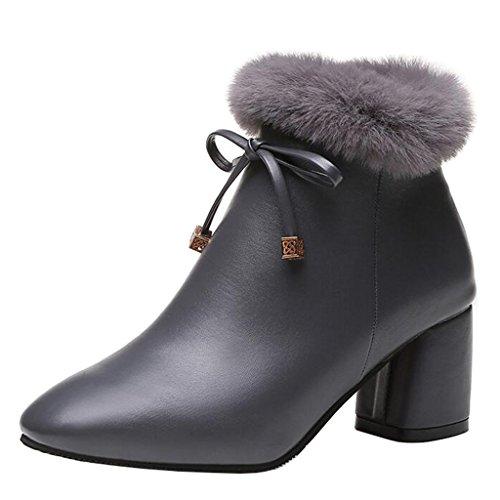Bowknot Women's Heel Block Boots Pointed Binying Fur Ankle Zip Gray Toe tdAnBXIxwq