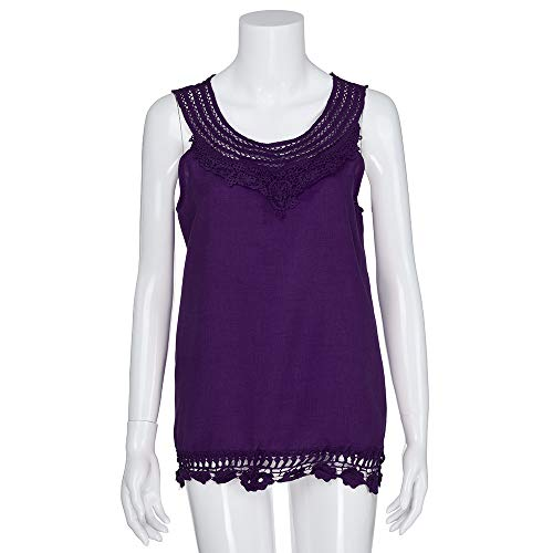 iYBUIA Women O-Neck Sleeveless Pure Color Lace Plus Size Vest Loose T-Shirt Blouse with Hollow Hem Purple by iYBUIA (Image #3)