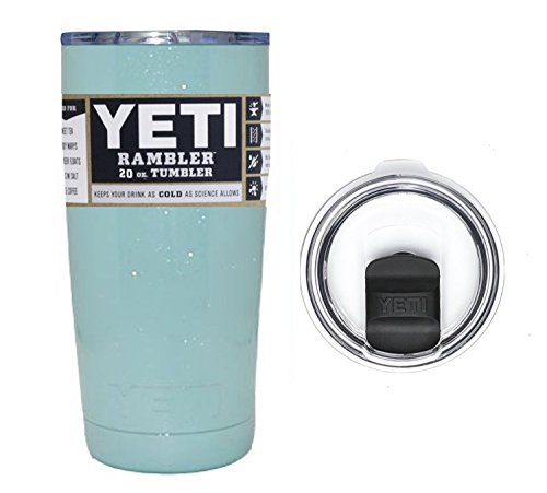 YETI Coolers Custom 20 Ounce (20oz) (20 oz) Rambler Tumbler Cup Mug with Exclusive Spill Resistant Lid (Glittered Seafoam)