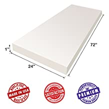 """Upholstery Foam Cushion Sheet- 1""""x24""""x72""""-High Density Support-Premium Luxury Quality- Good for Sofa Cushion, Mattresses, Wheelchair, Poker Table, and Much More- Dream Solutions USA"""