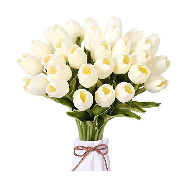"""FENGRUIL 30 Pcs Artificial Tulips Flowers, 14"""" PU Real Touch Bridal Flowers Bouquet for Home Office Party Wedding Festival Table Centerpiece Decoration (White)"""