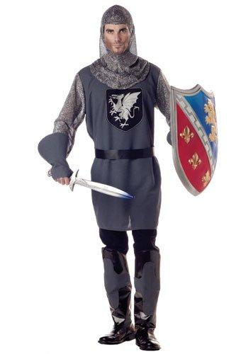 [California Costumes Men's Valiant Knight Costume, Gray/Silver/Black, X-Large] (Men Renaissance Costumes)